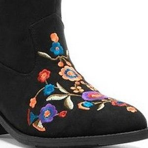 Mudd Western Floral Embroidered Faux Suede Booties